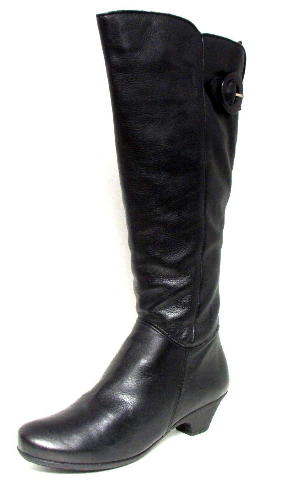 Bottes A PETIT TALON 40 cuir noir zip boucle MARIA JAEN femme NEUF