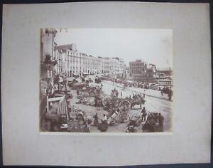 1890ca NAPOLI VIA SANTA LUCIA HOTEL DE ROME foto albumina originale 20x25 cm