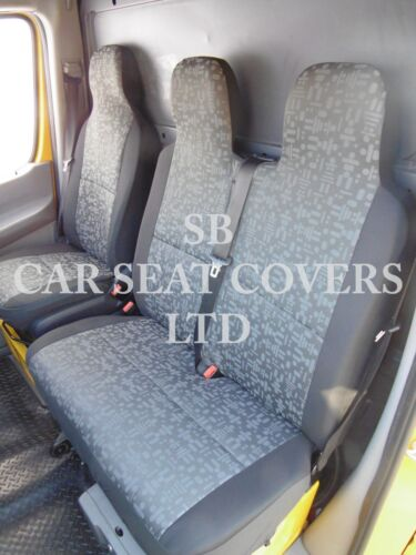 FORD TRANSIT VAN 2010 SEAT COVERS RETRO GREY SINGLE DOUBLE