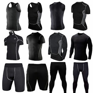 Mens-Compression-Thermal-Base-Layer-Tights-Tops-T-shirt-Shorts-Pants-Sportswear