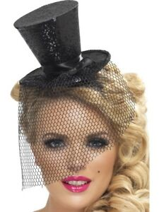 LADIES SILVER FEVER MINI TOPHAT HEADBAND FANCY DRESS TOP HAT DETACHABLE NETTING