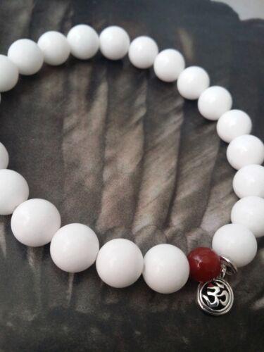 Sterling Silver Ohm Beaded  Red White Jade Stretch Bracelet Aum Om Choose Size
