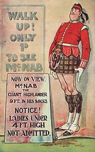 VINTAGE-COMIC-NO-SHORT-LADIES-ALLOWED-to-LOOK-up-KILT-of-GIANT-SCOTSMAN-POSTCARD
