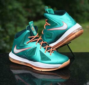 huge selection of e384d 39de2 Image is loading Nike-LeBron-X-10-Miami-Dolphins-Atomic-Teal-