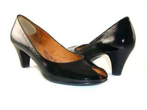 7688b1828f66 Sofft Women s Sorrento Peep Toe Pumps Black Crinkle Size 9.5 M ...