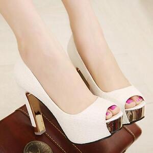 Stylish-Women-Sandals-Stiletto-Party-Shoes-Club-Peep-toe-Dress-Date-PU-Leather