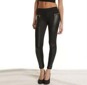 Women Ladies PU PVC Quilted Panel Wet Look Slim Fit Skinny Jegging Legging Pants