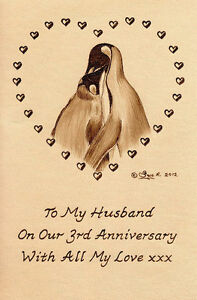 Personalised-Penguins-Bird-3rd-Wedding-Anniversary-6-034-x-4-034-Leather-Artwork