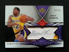 MAGIC JOHNSON 2006-07 UD EXQUISITE COLLECTION SCRIPTED SWATCH AUTO PATCH #22/25!