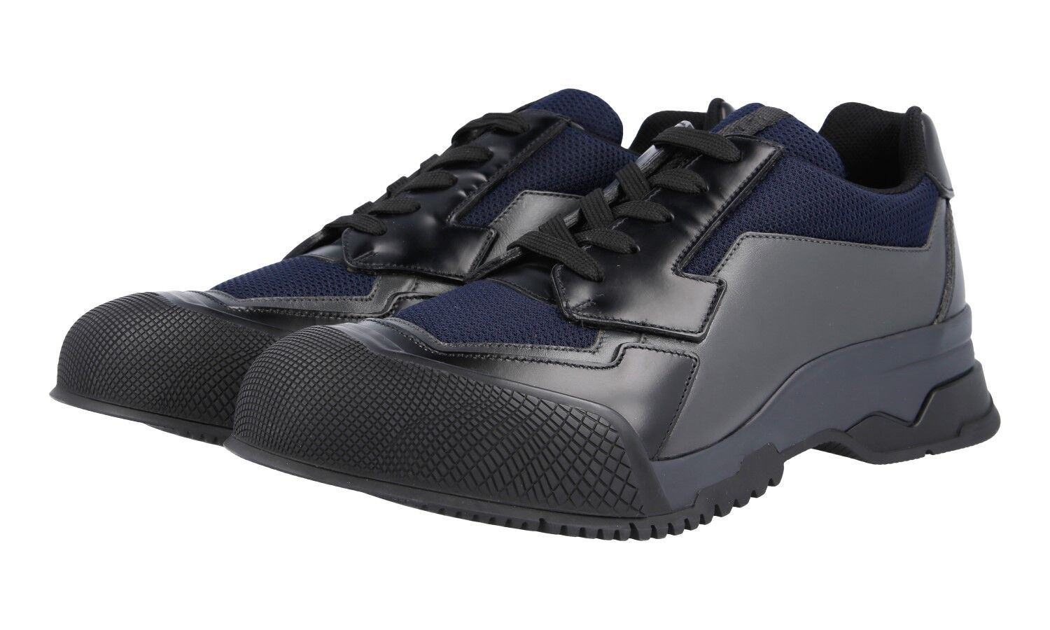 AUTH LUXURY PRADA SNEAKERS SHOES 4E2748 BLACK blueE NEW US 8 EU 41 41,5