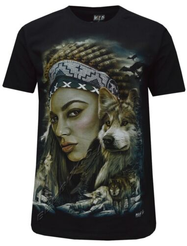 New Wolf Native American Red Indian Biker T 3XL Shirt Front /& Back Print M