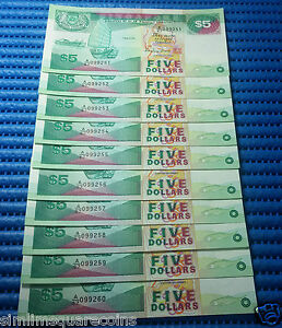 Singapore Ship Series $5 Note A/67 099251-099260 Run 10X Dollar Note Currency