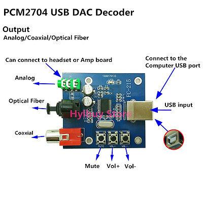 DAC Decoder PCM2704 USB Audio Sound Card Board Analog SPDIF Coaxial HiFi Decord