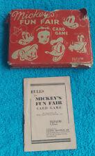 VINTAGE PEPYS SERIES MICKEY'S FUN FAIR CARD GAME - DISNEY - 1939 - COMPLETE