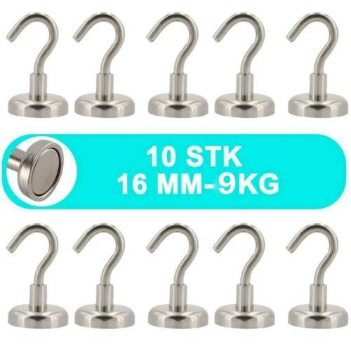 10 Stk Magnethaken Neodym Ø 16 mm 9Kg Topfmagnet//Starke Haftkraft Magnet Haken