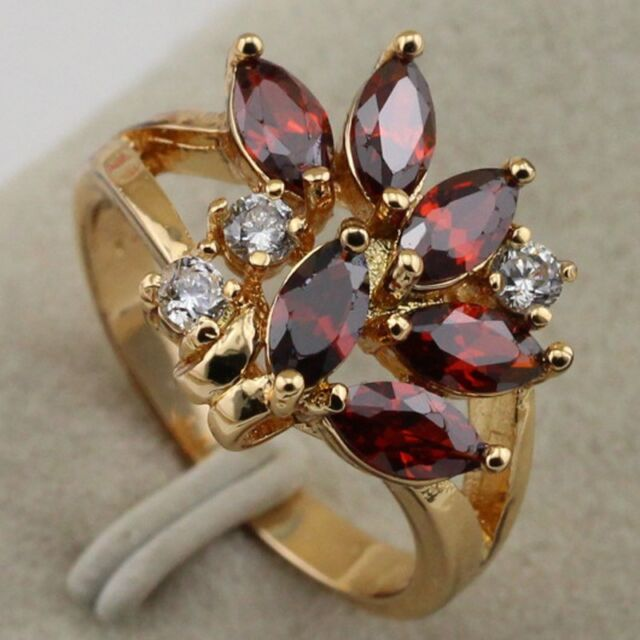 gallant New Red Ruby Gift Vogue yellow gold filled ring Rj1314 size 6 7 7.5 8.5