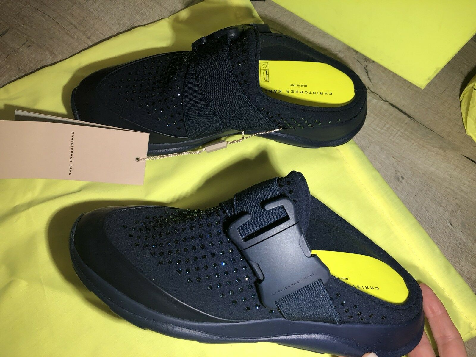 60d074a4bd4c94 Christopher Kane Swarovski Sécurité Boucle Diapositive Baskets Chaussures  Taille 38 38 38 (37.5) NEUF   Des Produits De Qualité,2019 New ee462c