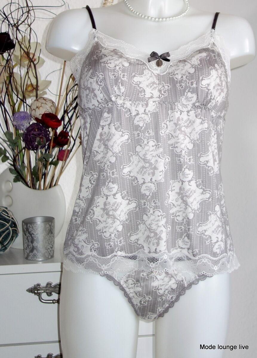 Vive Maria unter-hemd + String Set Dreaming Angel XL 42 Panties Grey Cream Beige