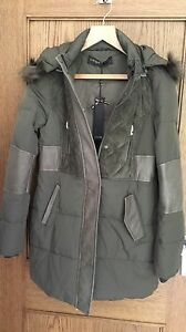 Supertrash-khaki-Onyx-faux-fur-hooded-parka-coat-size-40