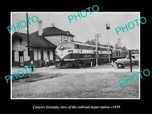 OLD-8x6-HISTORIC-PHOTO-OF-CONYERS-GEORGIA-THE-RAILROAD-DEPOT-STATION-c1950