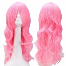 Pastel Ombre Long Curly Wavy Cosplay Costume Wig Synthetic Hair Wigs Pink Purple