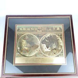 BLAEU-Gold-Foil-Wall-Globe-World-Map-Matted-in-Gold-Gilt-Wooden-Frame-30x25