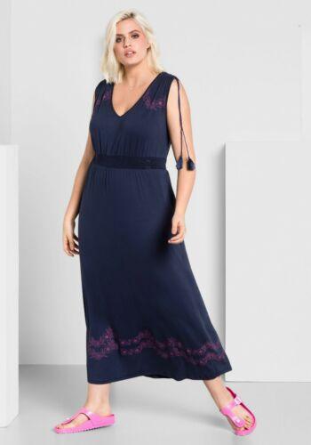 Sheego Maxikleid Gr.50 Blau Jerseykleid Damen Sommerkleid Pink Kleid Muster lang