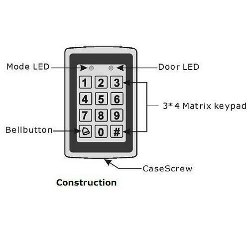 Metal 125KHz RFID Card Door Entry Exit Metal Door Lock Access Control Keypad