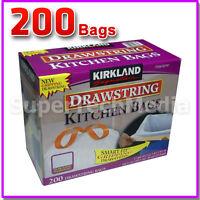 Kirkland Signature Drawstring Kitchen Trash Bags 13 Gallon 200 Ct