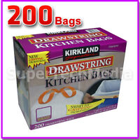 Kirkland Signature Drawstring Kitchen Trash Bags 13 Gallon 200 Ct