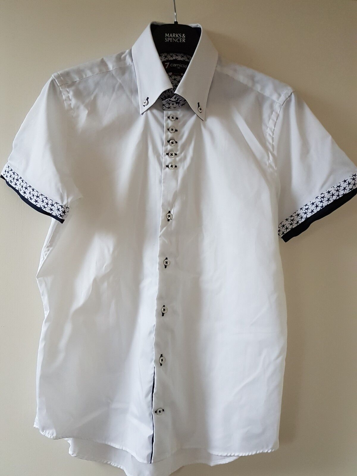 BNWOT 7 CAMICIE DESIGNER MENS WHITE SHORT SLEEVE SHIRT