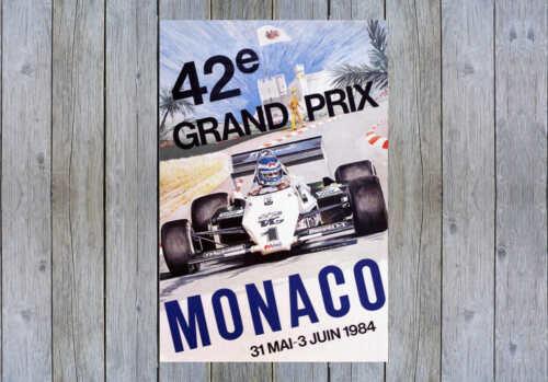 VINTAGE 1984 MONACO GRAND PRIX AUTO RACING POSTER PRINT 24x16 9 MIL PAPER