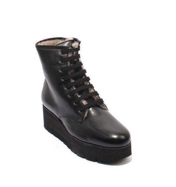 Luca Grossi 392a Cuero Negro botas botas botas Zip Encaje Shearling Cuña 36 US 6  primera vez respuesta