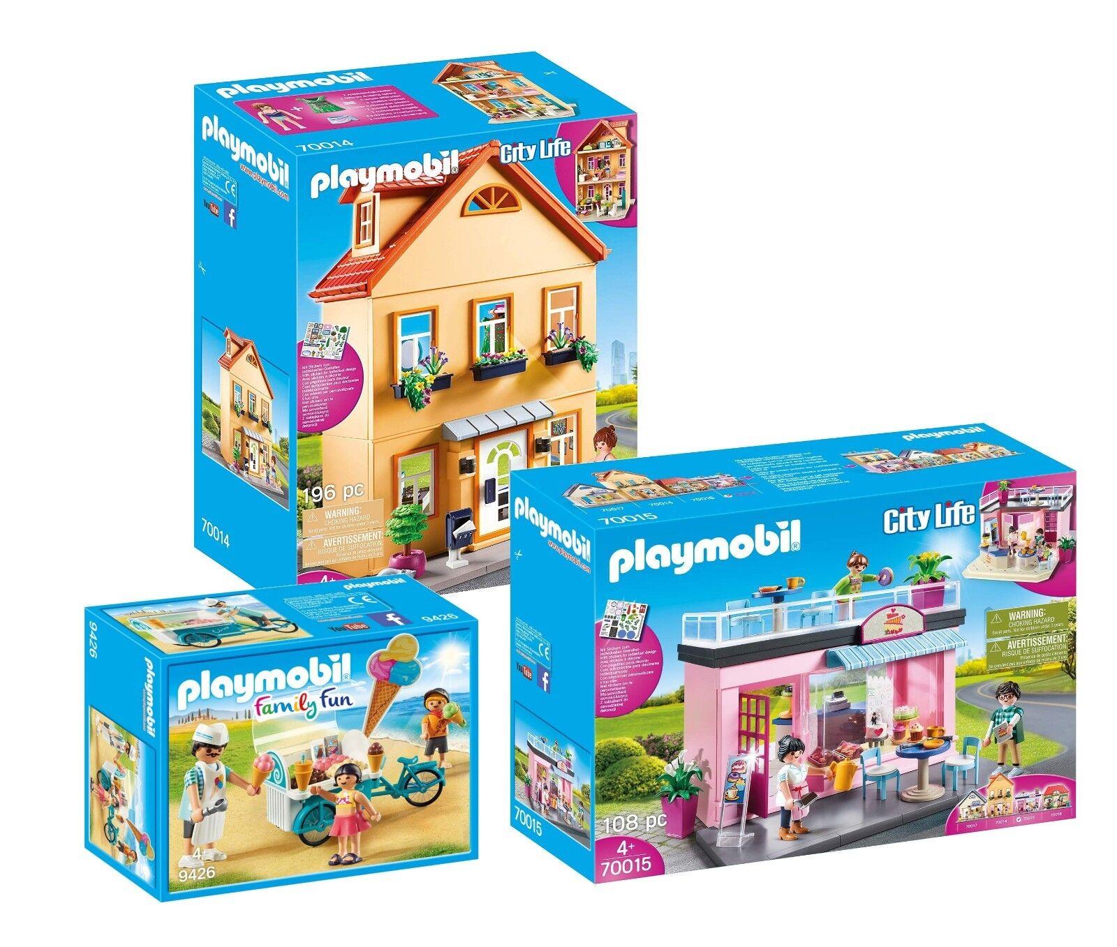 PLAYMOBIL® Set: 70014 Stadthaus + 70015 Lieblings-Café + + + 9426 Eiswagen, neu 06aff0