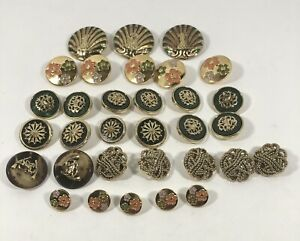 Lot of 32- Vintage Fancy Buttons Different Sizes & Shades.