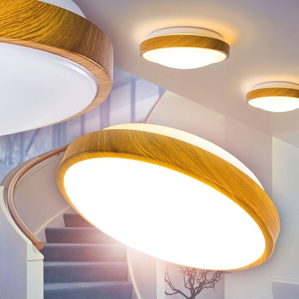 Paralume Sintetico Bianco Legno Luce Soffitto Lampada LED Salotto Cucina Camera