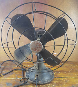 Image Is Loading Vintage Ge Electric Fan Black Red Very Old