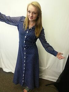 Vtg-Women-70-039-s-Maxi-Dress-Gown-Blue-White-Polka-Dots-Button-Down-Hippie-S-to-M