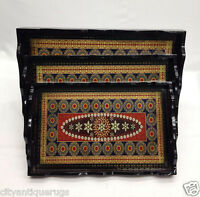 Wooden Tea Coffee Serving Tray Dark Brown Tray Set of 3 Tray with Handles