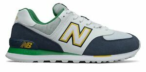 New Balance Men's 574 Shoes Navy with Green