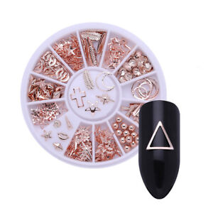 3D-Nail-Art-Decorations-Rose-Gold-Starfish-Shell-Manicure-in-Wheel-Nail-Tips