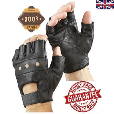Full Leather Weight Lifting Gloves Half Finger Gym Fitness Cycling Bus Driving