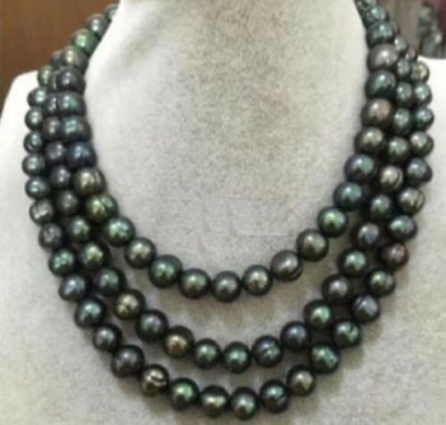50 in environ 127.00 cm 9-10 mm South Sea Black Tahitian Pearl Colliers AA