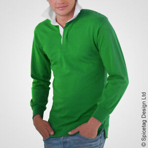 ce3dcb24684 Retro Green Rugby Jersey 70s Polo Vintage Old Style Sweater Ireland ...