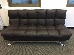 Modern Futon Style Sleeper Sofa Bed in Brown Faux Leather Living ...