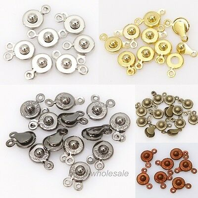 30 Set Snap Fastener Clasp Hooks Connectors For Bracelet Necklace Making 15x8mm