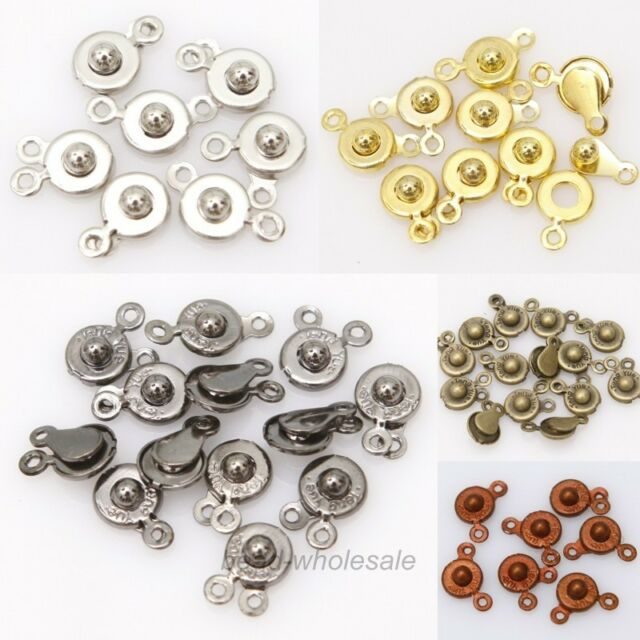 30Sets Snap Fastener Clasp Hooks Connectors Bracelet/Necklace Findings,15x8mm