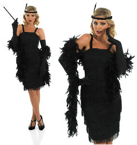 ladies black flapper fancy dress costume 20s charleston gatsby outfit uk 8 30 ebay. Black Bedroom Furniture Sets. Home Design Ideas