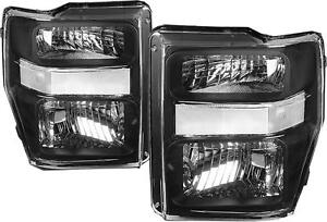 Left-amp-Right-Black-Housing-Headlights-for-08-10-Ford-F250-F350-Super-Duty
