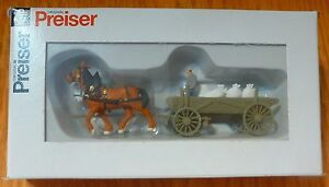 Preiser HO #30470 Horses and Wagon (Feed Sack Load) Built Up and Ready